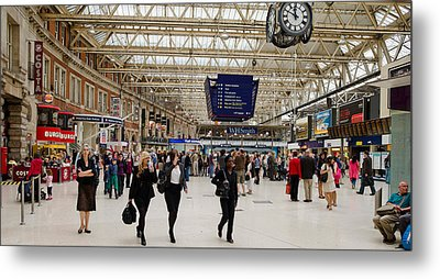 Commuters At A Railroad Station Metal Print by Panoramic Images