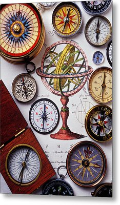 Compasses And Globe Illustration Metal Print by Garry Gay