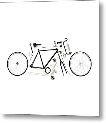 Components Of A Road Bike Metal Print by Science Photo Library