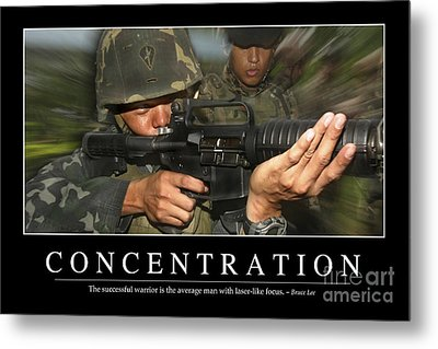 Concentration Inspirational Quote Metal Print by Stocktrek Images