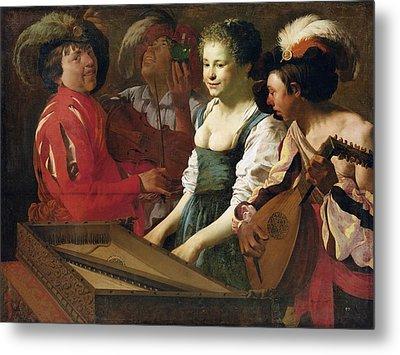 Concert, 1626 Oil On Canvas Metal Print by Hendrick Ter Brugghen