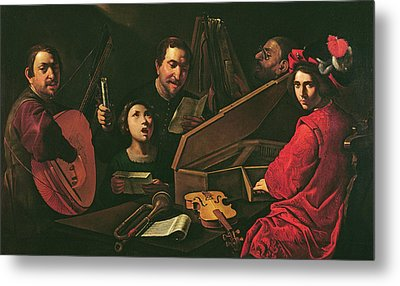 Concert With Musicians And Singers, C.1625 Oil On Canvas Metal Print by Pietro Paolini