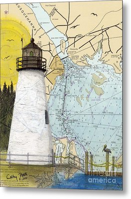 Concord Pt Lighthouse Md Nautical Chart Map Art Cathy Peek Metal Print by Cathy Peek