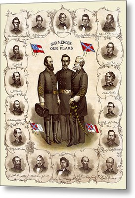 Confederate Generals And Flags Metal Print by Daniel Hagerman