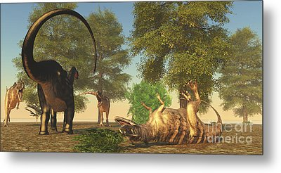 Confrontation Between An Apatosaurus Metal Print by Corey Ford