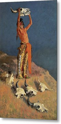 Conjuring Back The Buffalo Metal Print by Frederick Remington