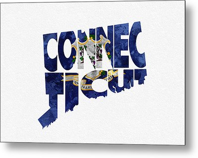 Connecticut Typographic Map Flag Metal Print by Ayse Deniz