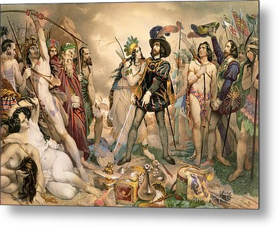 Conquest Of Mexico Hernando Cortes Destroying His Fleet At Vera Cruz Metal Print by Nicholas Eustache Maurin