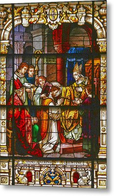 Consecration Of St Augustine Stained Glass Window Metal Print by Christine Till