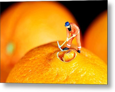 Construction On Oranges Metal Print by Paul Ge
