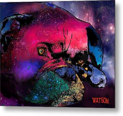 Contemplative Boxer Dog Metal Print by Marlene Watson