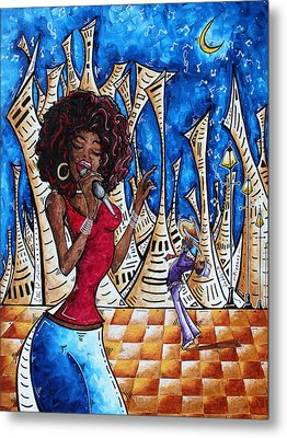 Contemporary New Orleans Jazz Blues Original Painting Singin In The Streets Metal Print by Megan Duncanson