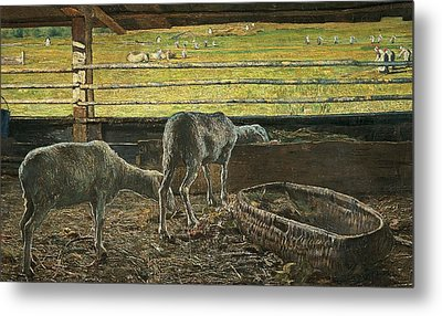 Contrast Of Light Metal Print by Giovanni Segantini