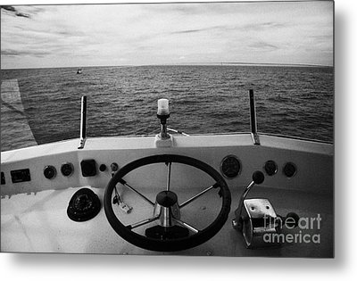 Controls On The Flybridge Deck Of A Charter Fishing Boat In The Gulf Of Mexico Out Metal Print by Joe Fox
