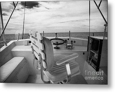Controls On The Flybridge Deck Of A Charter Fishing Boat In The Gulf Of Mexico Out Of Key West Metal Print by Joe Fox