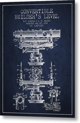 Convertible Builders Level Patent From 1922 -  Navy Blue Metal Print by Aged Pixel