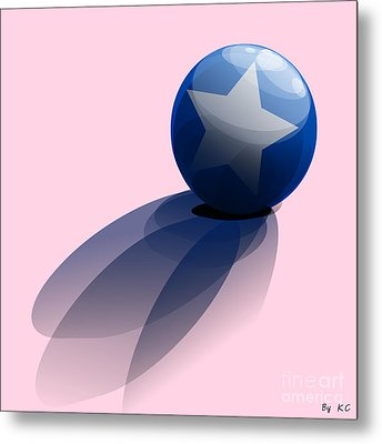 Blue Ball Decorated With Star Metal Print by R Muirhead Art