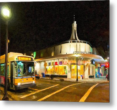 Coolidge Corner In Brookline At Night Metal Print by Mark E Tisdale