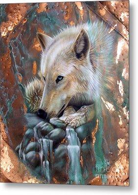 Copper Arctic Wolf Metal Print by Sandi Baker