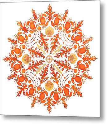 Coral Crab Mandala Metal Print by Stephanie Troxell