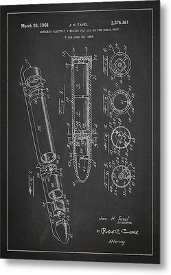 Cordless Vibrator Patent Drawing From 1966 Metal Print by Aged Pixel