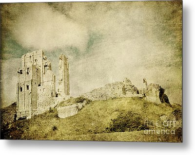 Corfe Castle - Dorset - England - Vintage Effect Metal Print by Natalie Kinnear