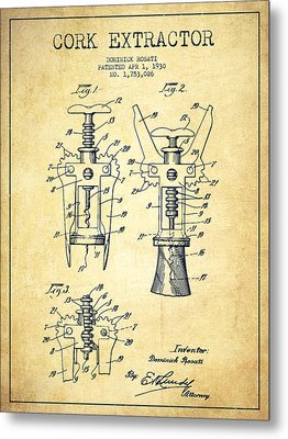 Cork Extractor Patent Drawing From 1930 - Vintage Metal Print by Aged Pixel
