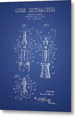 Cork Extractor Patent From 1930- Blueprint Metal Print by Aged Pixel