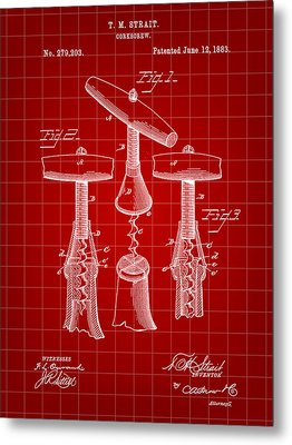 Corkscrew Patent 1883 - Red Metal Print by Stephen Younts