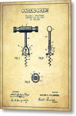 Corkscrew Patent Drawing From 1897 - Vintage Metal Print by Aged Pixel