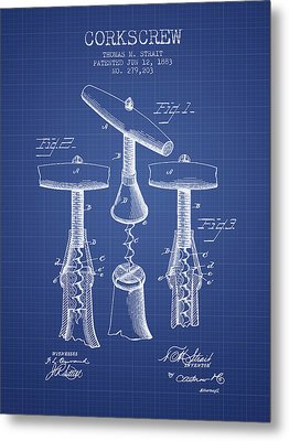 Corkscrew Patent From 1883- Blueprint Metal Print by Aged Pixel