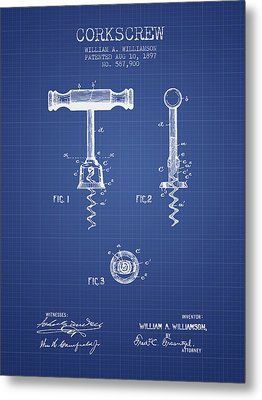 Corkscrew Patent From 1897 Blueprint Metal Print by Aged Pixel