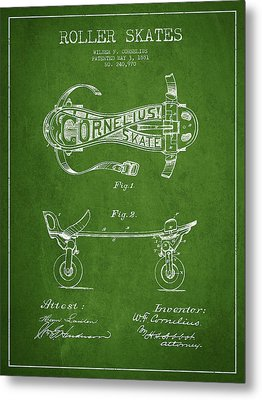 Cornelius Roller Skate Patent Drawing From 1881 - Green Metal Print by Aged Pixel