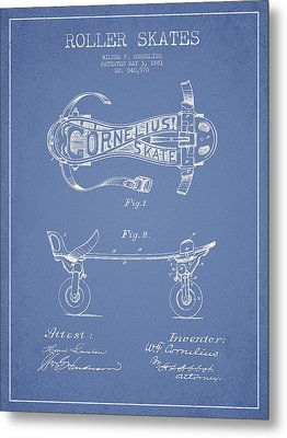 Cornelius Roller Skate Patent Drawing From 1881 - Light Blue Metal Print by Aged Pixel