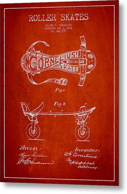 Cornelius Roller Skate Patent Drawing From 1881 - Red Metal Print by Aged Pixel