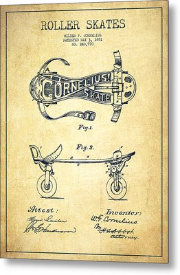 Cornelius Roller Skate Patent Drawing From 1881 - Vintage Metal Print by Aged Pixel