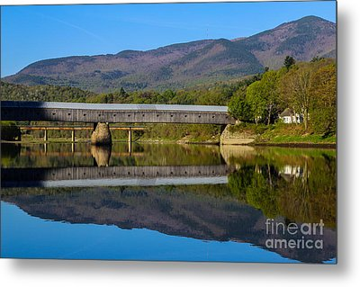 Cornish Windsor Covered Bridge Metal Print by Edward Fielding