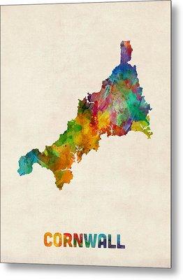 Cornwall England Watercolor Map Metal Print by Michael Tompsett