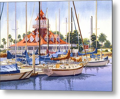 Coronado Boathouse Metal Print by Mary Helmreich