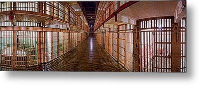 Corridor Of A Prison, Alcatraz Island Metal Print by Panoramic Images