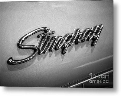 Corvette Stingray Emblem Black And White Picture Metal Print by Paul Velgos
