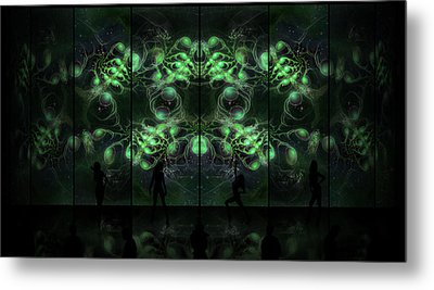 Cosmic Alien Vixens Green Metal Print by Shawn Dall