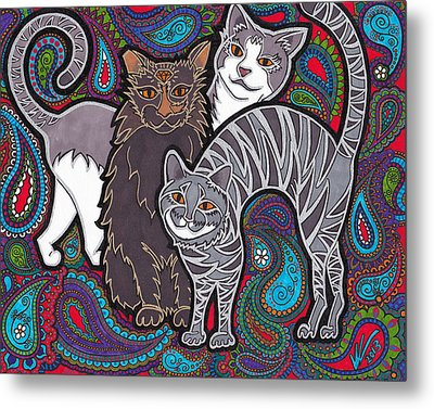 Cosmic Kittehs Metal Print by Keri Costello