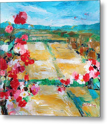 Cosmos In The Field 2 Metal Print by Becky Kim