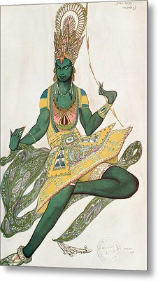 Costume Design For Nijinsky 1889-1950 For His Role As The Blue God, 1911 Wc On Paper Metal Print by Leon Bakst