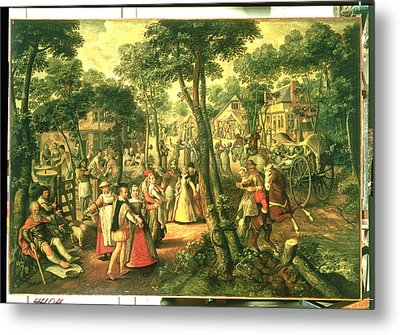 Country Celebration, 1563 Oil On Canvas Metal Print by Joachim Beuckelaer or Bueckelaer