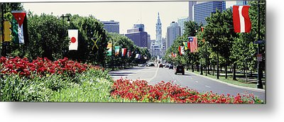 Country Flags On Trees Along Martin Metal Print by Panoramic Images