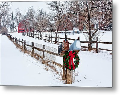 Country Holiday Cheer Metal Print by Teri Virbickis