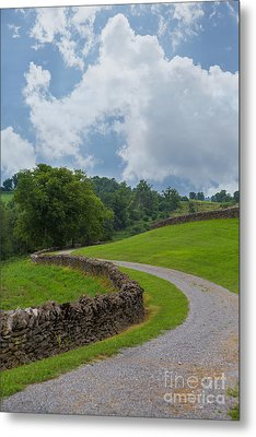 Country Road With Limestone Fence Metal Print by Kay Pickens