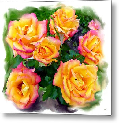 Country Roses Watercolor Metal Print by Will Borden
